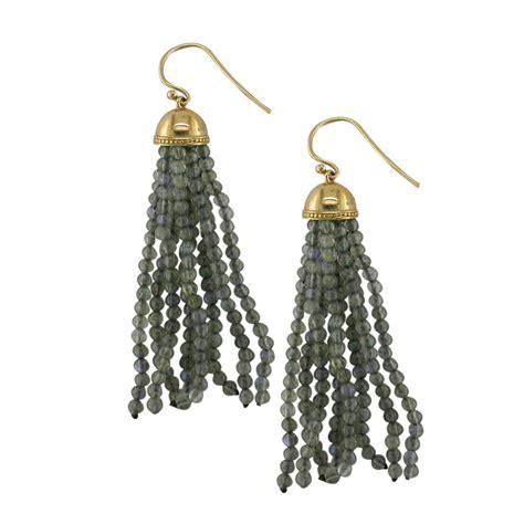 Tassel Drop Earrings designer yellow gold and labradorite tassel drop earrings