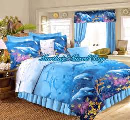 Nautical Bedspreads Or Comforter Sets Dolphin Bedding Tropical Beach Ocean Blue King Full Size