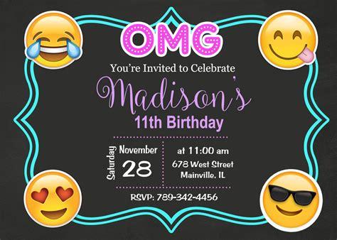 Emoji Emojicon Teen Tween Birthday Party Invitation Emoji Birthday Invitation Template Free