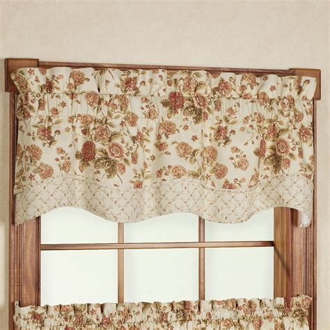 Scalloped Valances For Windows Decor Cottage Scallop Valance Tier Window Treatment