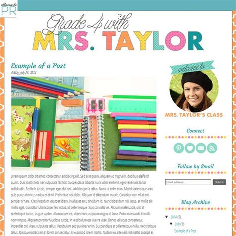 premade blogger template teacher blog with colorful text