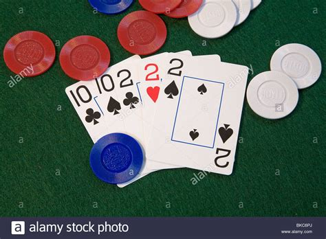 full house cards a quot full house quot poker hand treys and tens a good poker hand in five stock photo