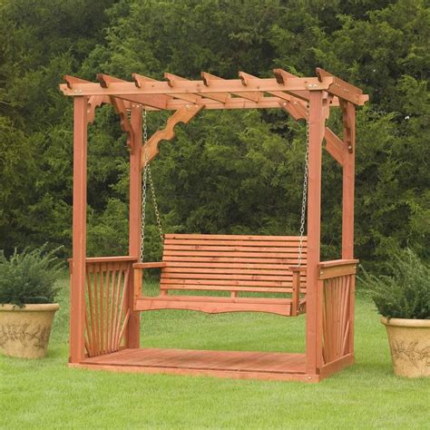 swing free porch swing frame plan wooden cedar wood pergola