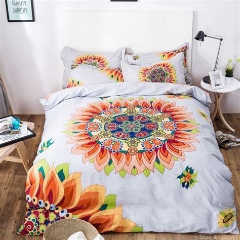 oriental style printing sunflower bedding set cotton bed