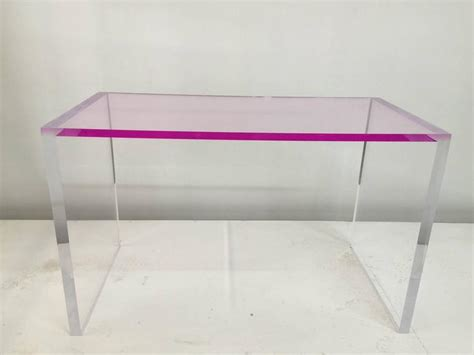 Perspex Computer Desk Whimsical Pink And Clear Acrylic Desk And Bench At 1stdibs