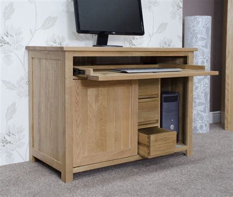 Hideaway Laptop Desk Eton Solid Oak Furniture Home Office Pc Hideaway Computer Desk Ebay