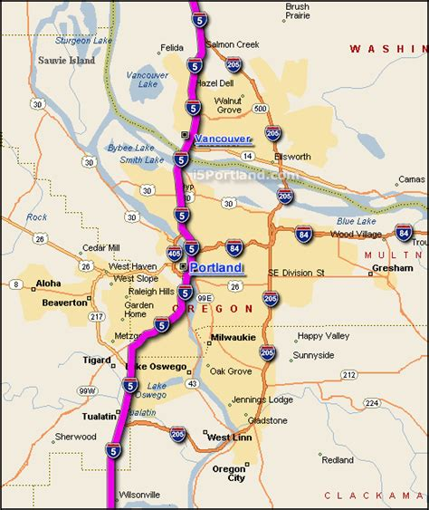 map of interstate 5 through oregon interstate 5 map washington my