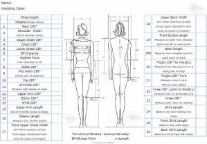 measurement chart fitting a wedding dress or gown pret