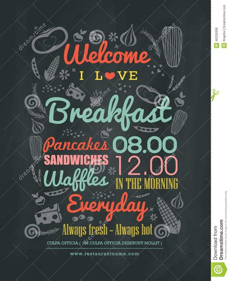 typography layout breakfast cafe menu design typography on chalk board stock vector image 46226308
