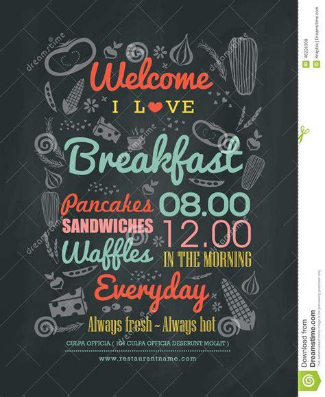 Breakfast Cafe Menu Design Typography On Chalk Board Stock