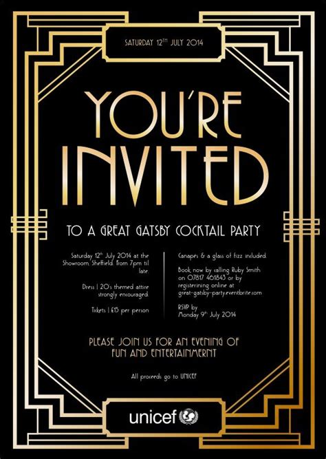 blank great gatsby invitation template www imgkid com