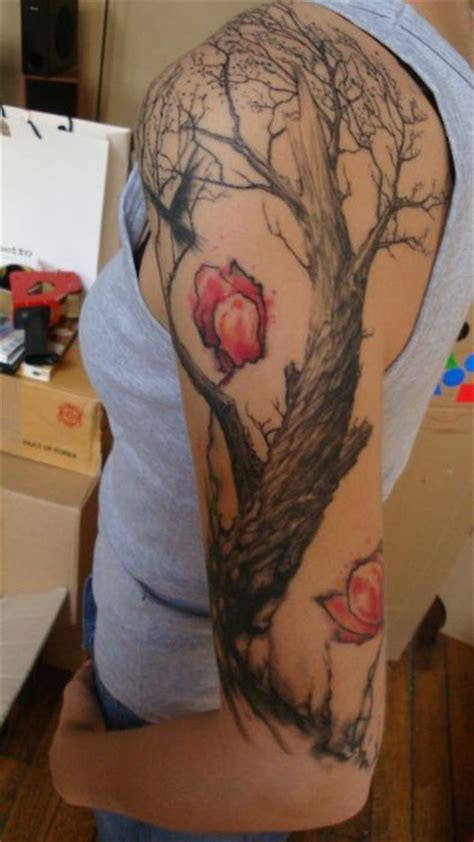 red tree tattoo black tree with flowers on arm tattooimages biz