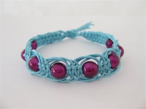Simple Macrame Bracelet Patterns - pattern easy blue and pink macrame bracelet pattern