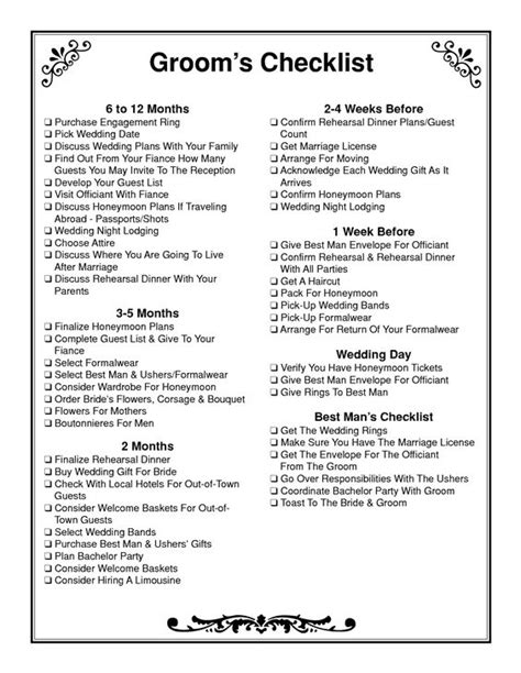 free printable wedding checklist by month 6 month wedding checklist print groom s checklist the