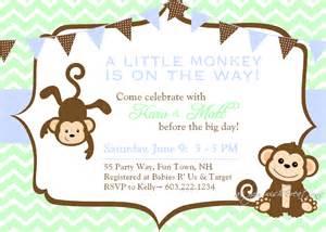 baby shower invitation monkey chevron blue by asyouwishcreations4u