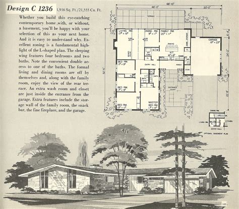retro ranch house plans vintage house plans 1236 antique alter ego