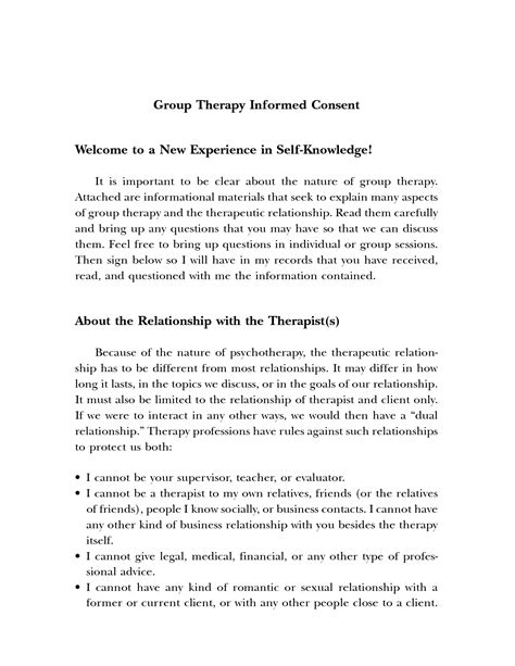 Sle Informed Consent Form For Group Therapy Informed Consent Form Template
