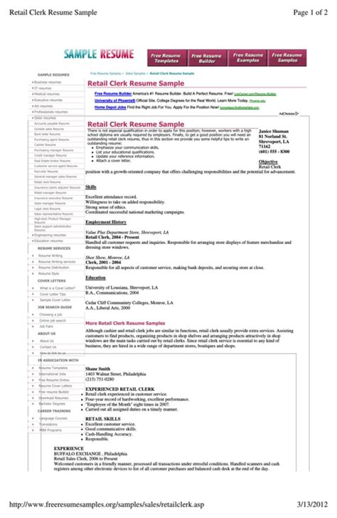 sle clerk resume retail resume templates for free formtemplate