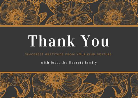 canva card template black and brown floral illustrations sympathy thank you