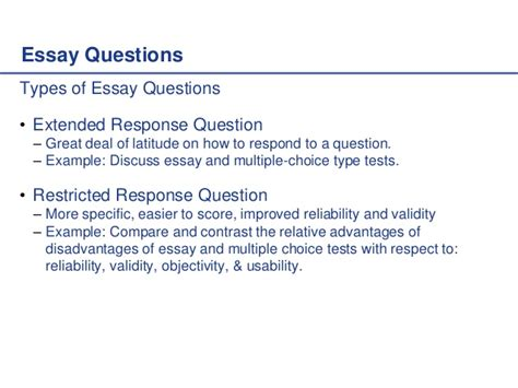 Question And Answer Essay Exles by Writing Test Questions