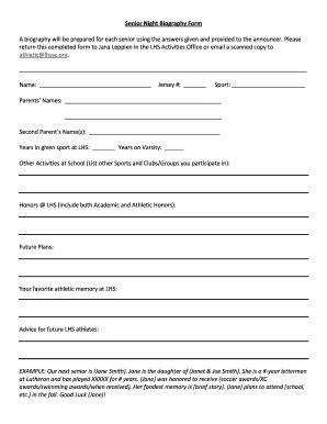 online biography form senior night bio sheet fill online printable fillable