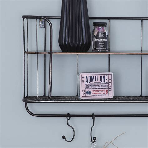 two shelf metal wall rack by primrose plum