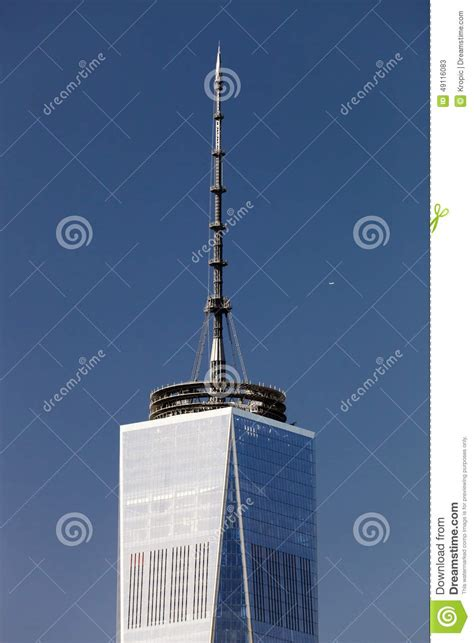 new york usa the top of the freedom tower with antenna editorial stock photo image 49116083