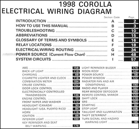 1998 toyota corolla wiring diagram manual original