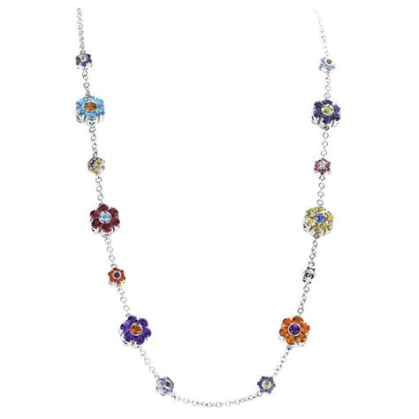 fiori jewelry pasquale bruni fiori multi gemstone gold floral necklace