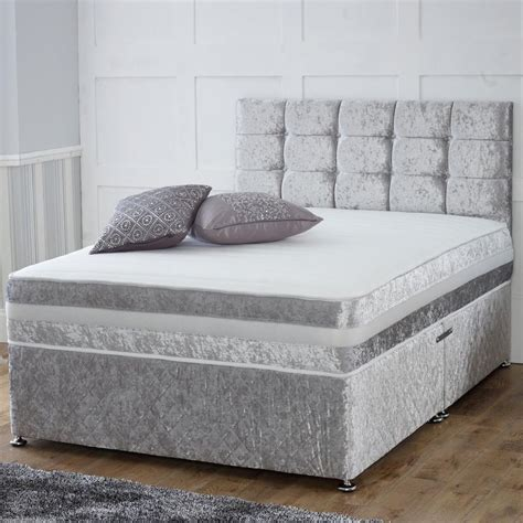 double bed mattress crushed velvet divan bed memory mattress headboard 3ft