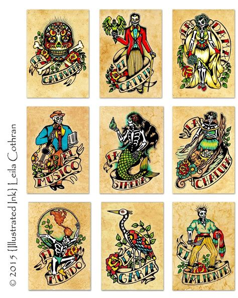mexican art tattoo designs day of the dead prints mexican loteria set of 9