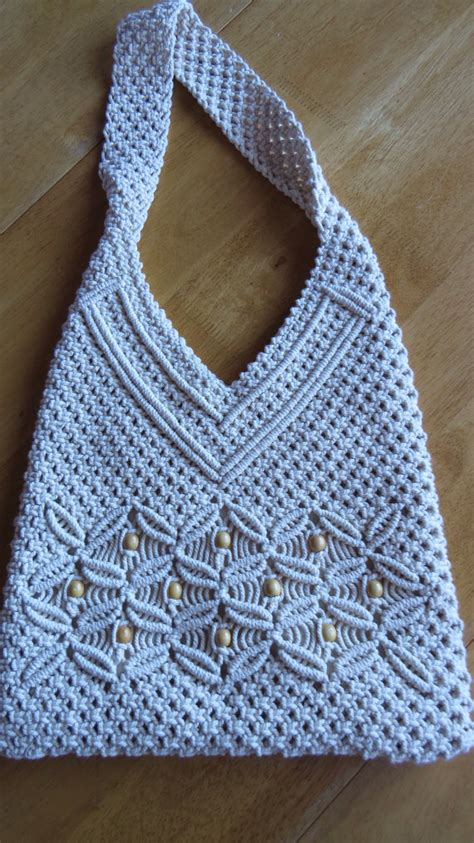 Macrame Crochet Patterns - vintage macram 201 shoulder bag crocheted tote purse