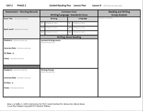 lesson plan template grade 3 guided reading plus lesson by time saving teaching