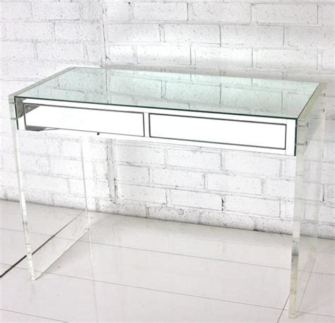 white acrylic desk mirror lucite desk vanity modern desks and hutches