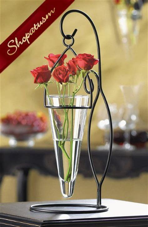black vases for wedding centerpieces artistic black metal cone shaped hanging glass vase artistic swirls of matte black metal support
