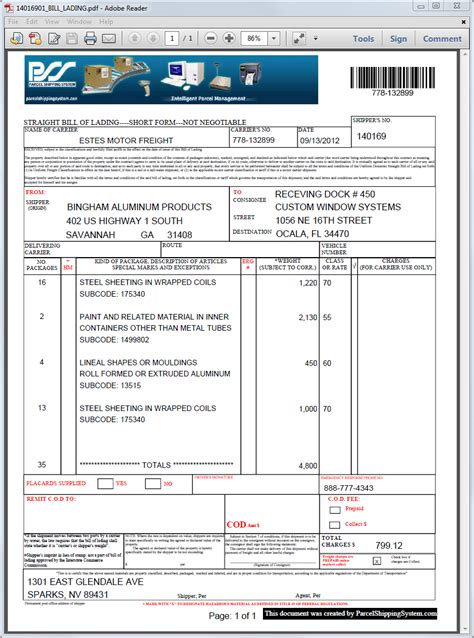 trucking company invoice template with bill of lading form free