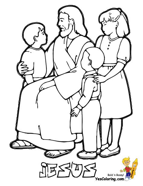 Jesus And The Children Coloring Page glorious jesus coloring bible coloring free printable