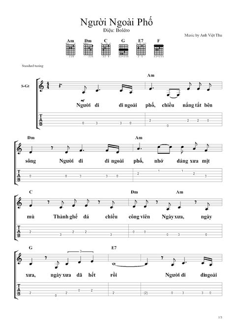 NGƯỜI NGOÀI PHỐ - Hợp âm guitar, cảm âm sáo trúc, sheet