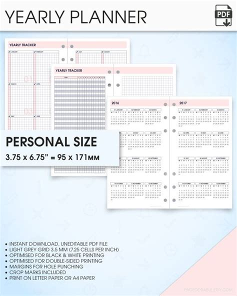 free printable planner 2016 personal size yearly planner printable 2017 2018 filofax personal size