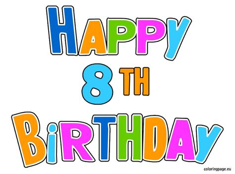 Happy Birthday Wishes For 8 Year Boy 8th Birthday Clipart Clipartsgram Com