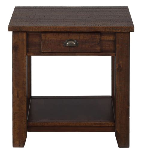 brown lodge jofran lodge brown casual end table with one drawer