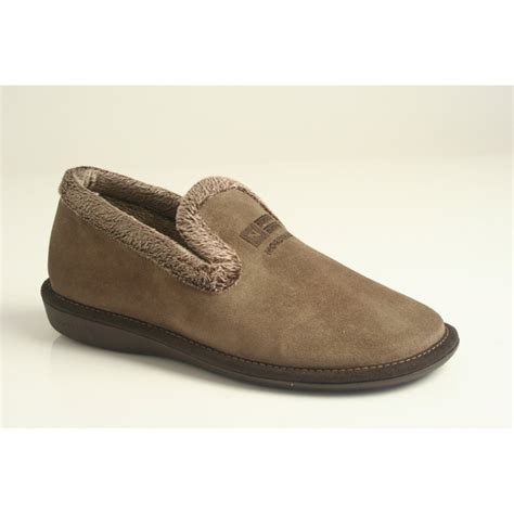 lightweight slippers nordika s style 305 in soft taupe suede leather with