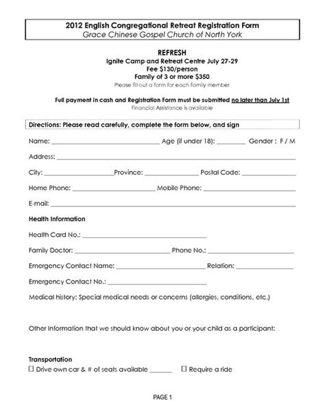 retreat registration form template templates and words on