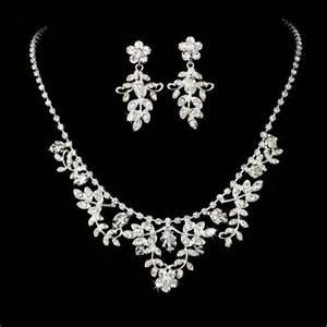 Wedding bridal necklace earring set silvertone setting