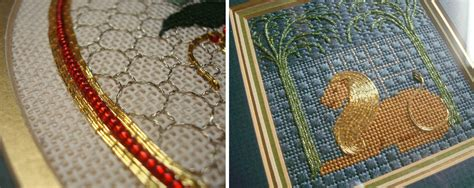couching cross stitch embroidered metallic couching crafts embroidery pinterest