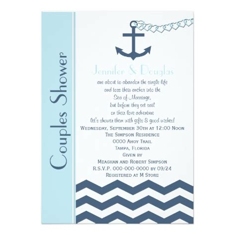 Coed Bridal Shower by Couples Coed Wedding Shower Invitation Nautical Zazzle
