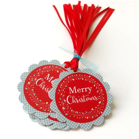 merry christmas holiday gift tags wreath christmas favor