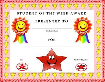 student of the week award certificate kids will love it