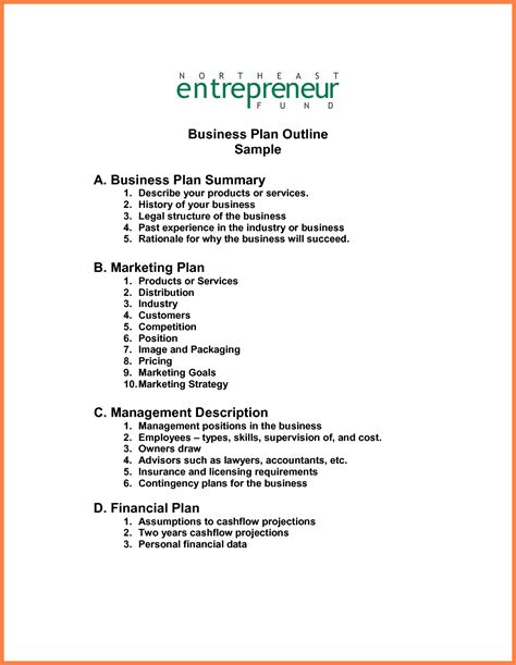 restaurant business plan template simple outline example cmerge