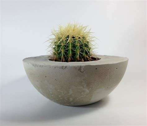 Concrete Bowl Planter by Handmade Concrete Bowl Planter